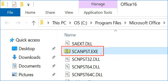 Type scanpst.exe